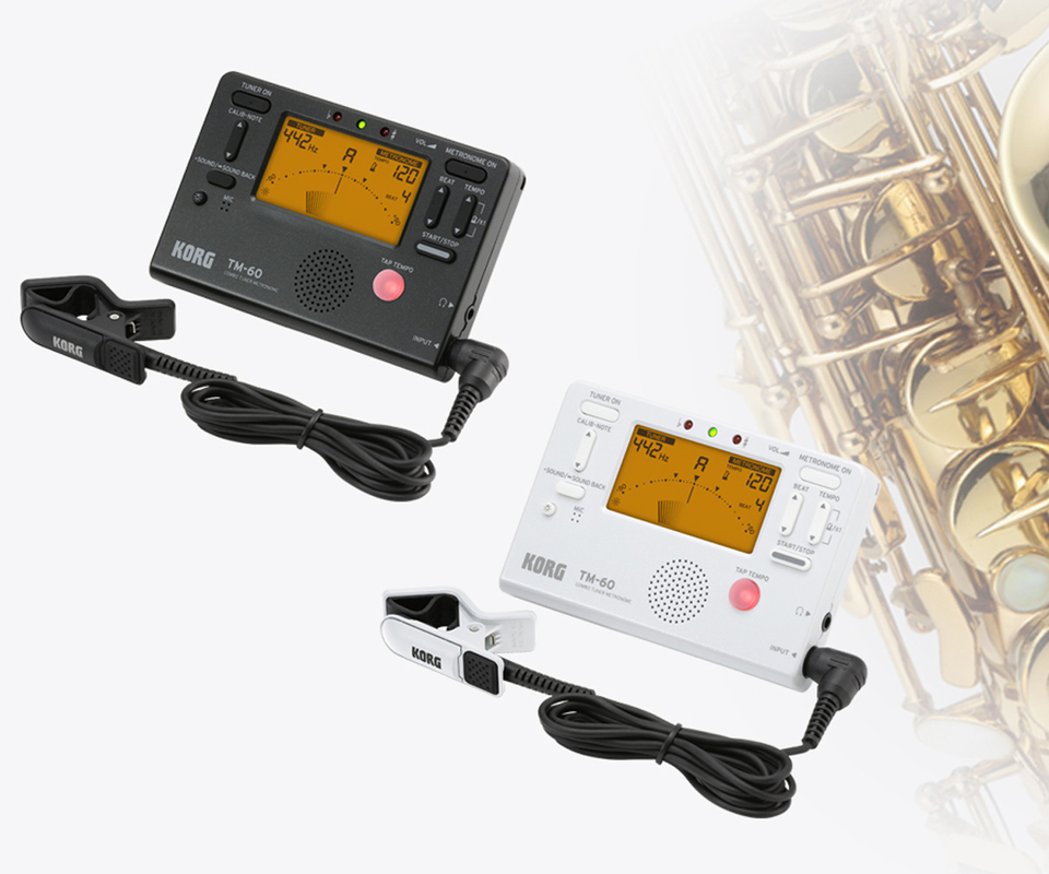 Korg TM50 TM60 Metronome Tuner with Clip on Mic can be used for wind, Guitar, Ukulele, and Piano keyboard instruments