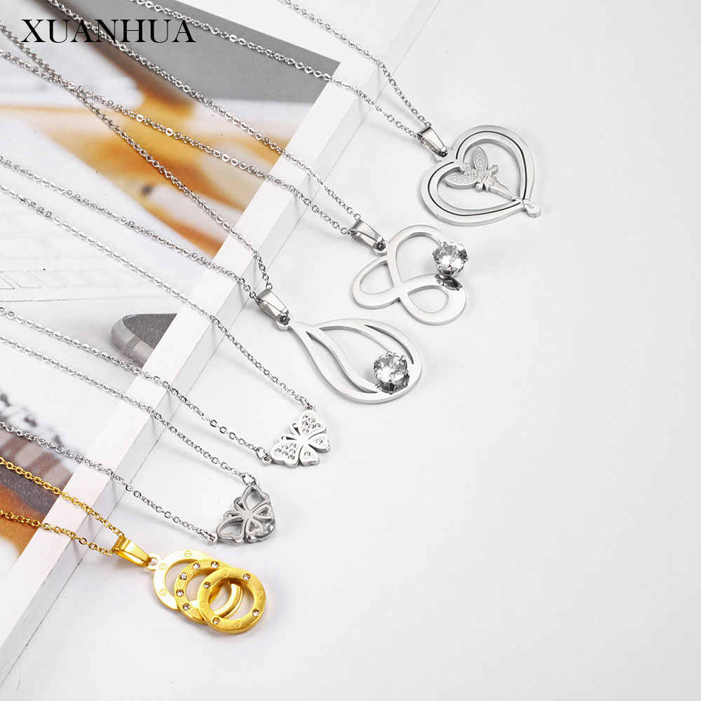 XUANHUA Stainless Steel Jewelry Woman Vogue 2019 Chain Pendant Necklace Fine Jewelry Accessories Charm Gifts For Women Bohemian