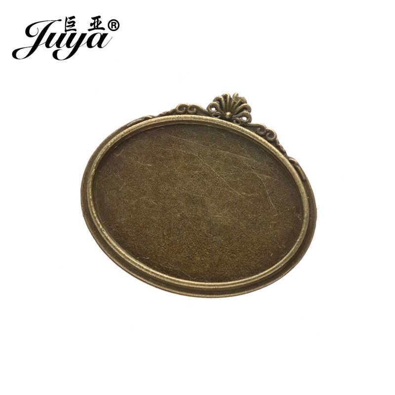 JUYA DIY 古典的なジュエリーアクセサリー 2 ピース/セットアンティークブロンズ合金チャーム 30x40 ミリメートルオーバルカメブローチカボションベース設定 AD0131
