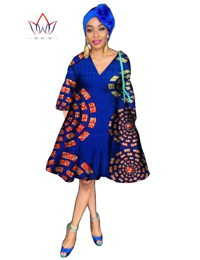 African Print Dashiki Women Sweet V Neck Flare Sleeve Dress Plus