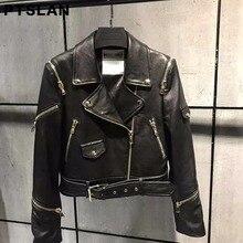 Ptslan Fashion Basic Jackets Autumn Female Coat Zipper Soft Black Women motorcycle Genuine Leather Jacket with