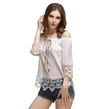 New Half Sleeve Top Shirts Boho Blusa Fashion Chiffon Women Blouse Sexy Off Shoulder