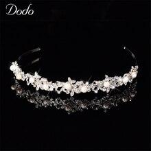Brillante de cristal Austriaco perla de imitación tiaras boda nupcial flora Flores hairbands pelo de la novia accesorio encanto recuerdo HF11