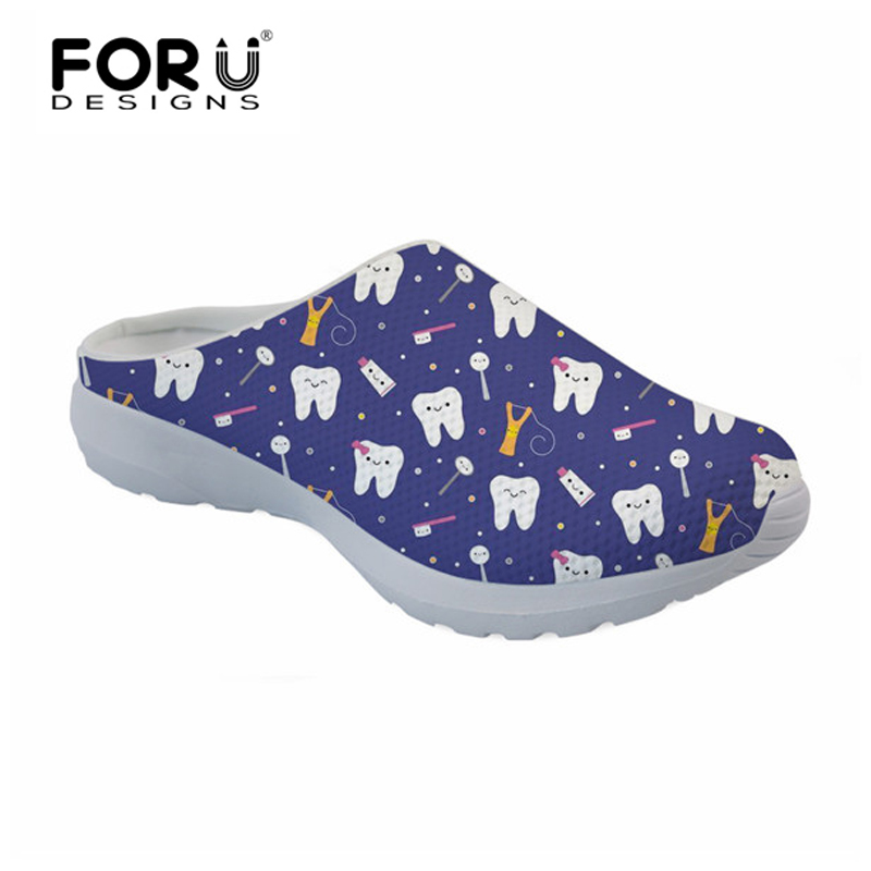 FORUDESIGNS Cute Cartoon Dentist Pattern Casual Women Sandals Breathable Mesh Beach Slippers Woman Summer Sandals for Girls 2018