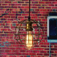 Edison Iron Vintage Ancient Hanging Ceiling Lamp Bulb Light Fitting Guard Wire Cage Cafe Lampshade Lamp