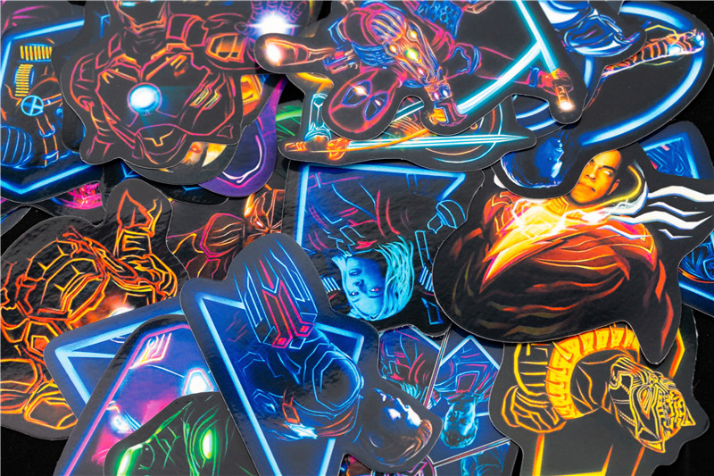 Neon Super Hero Stickers Skateboard Motorcycle Luggage Stickers