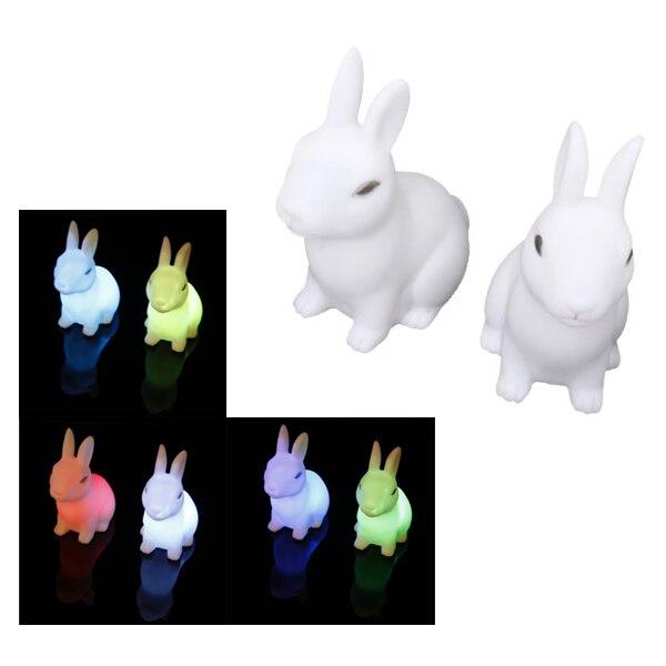 2 шт. Цвет Изменение милый кролик-образный Ночной светодиодные украшения ночники