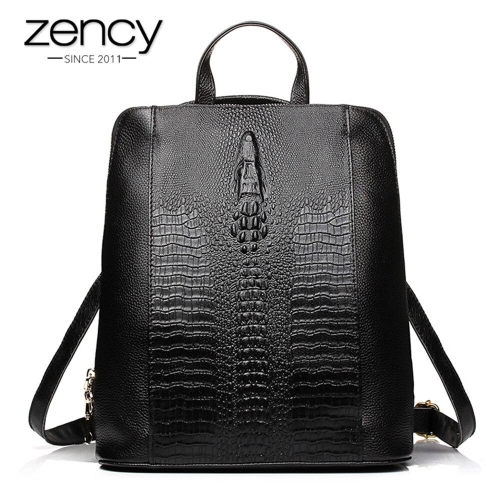 Zency หนังแท้ 100% กระเป๋าเป้สะพายหลัง Ladies รูปแบบจระเข้ผู้หญิงกระเป๋าเป้สะพายหลังโน้ตบุ๊ค Schoolbags กระเป๋าเดินทางคุณภาพสูง-ใน กระเป๋าเป้ จาก สัมภาระและกระเป๋า บน   1