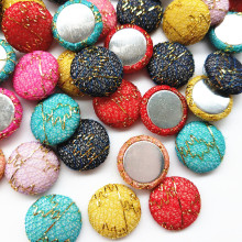 50pcs/lot  15mm mix color Fabric Covered Button Flatback No Hole To Sew Craft Flower Center