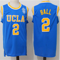 Mens 2 lonzo bal UCLA Bruins Blue Gestikt Basketbal Jersey Top kwaliteit borduren jersey