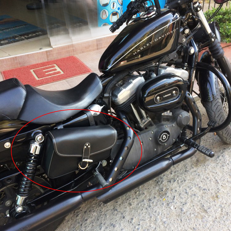 Motorcycle Saddle Bags For Harley Sportster XL 883 1200 Left Side Black Synthetic PU Leather Motor Saddlebag D25 On Aliexpress