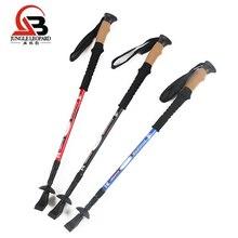 2Pcs Adjustable Trekking Pole Telescopic Hiking Stick Aluminum Alloy Cork Handle Non-slip Nordic Walking Camping Equipment