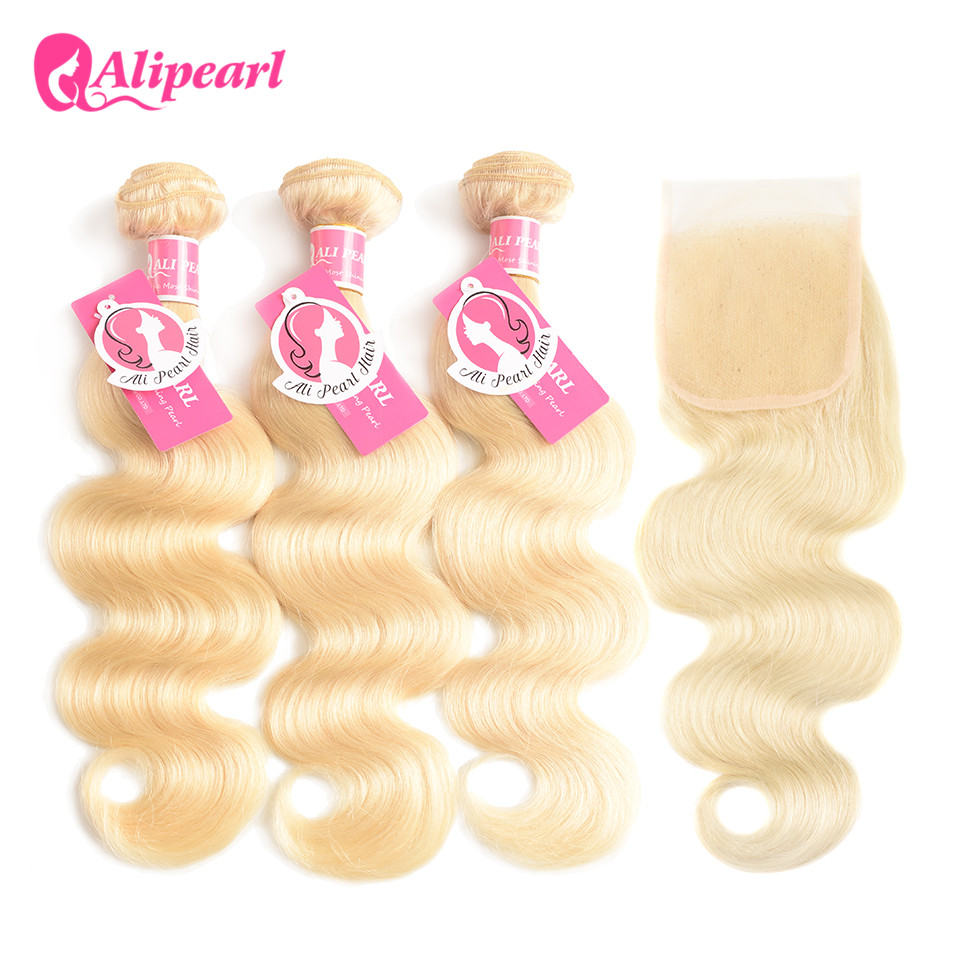 AliPearl Hair 613 Blond Body Wave 100% Human Hair Bundles With Closure Brazilian Ombre Hair 3 Bundles 8-24 Inch Remy Extensions image