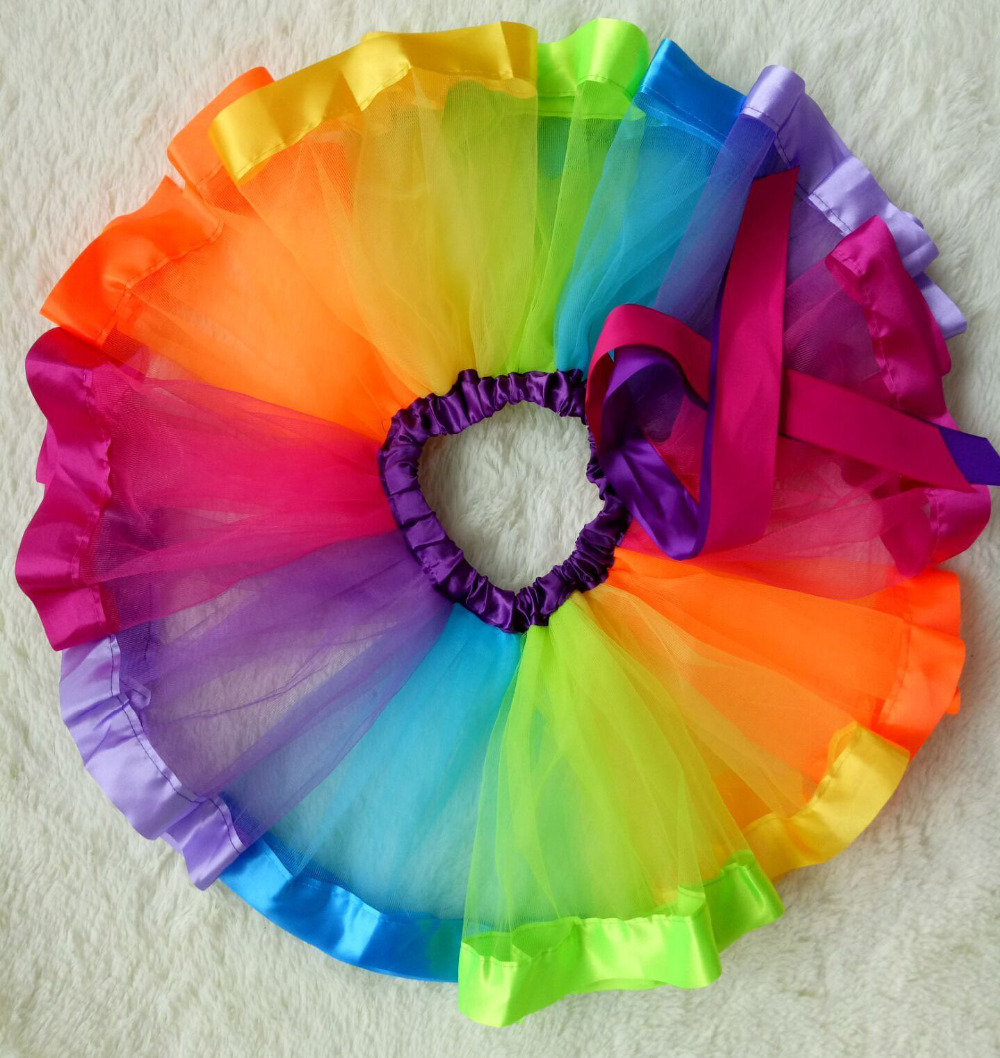 2017 new style rainbow colorfull fluffy girl pettiskirt tutu dance mini skirt baby skirt for 1-9Y hot sale su