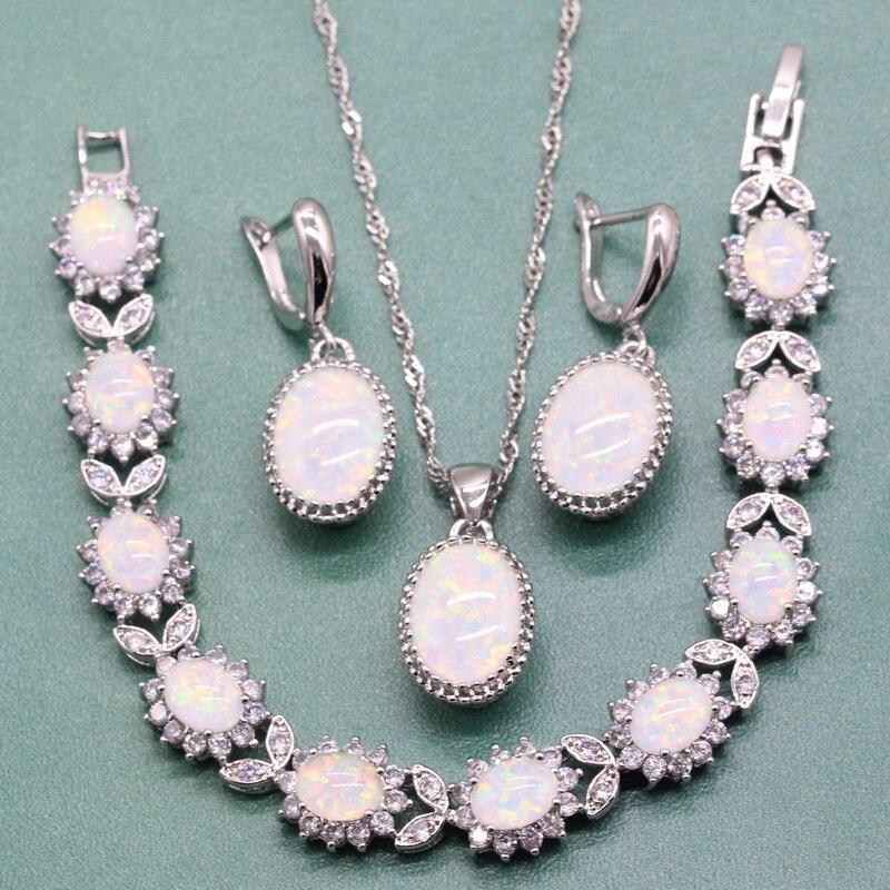 Elegant Oval White Australian Fire Opal 925 Sterling Silver Jewelry Sets For Women Necklace Dangle Earrings