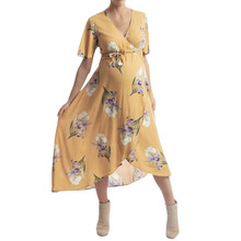 Daily Women Pregnant Maternity Dress Short sleeve Flower Floral Dresses Chiffon Print O-Neck Sundress Sexy Beach Patry Dresses