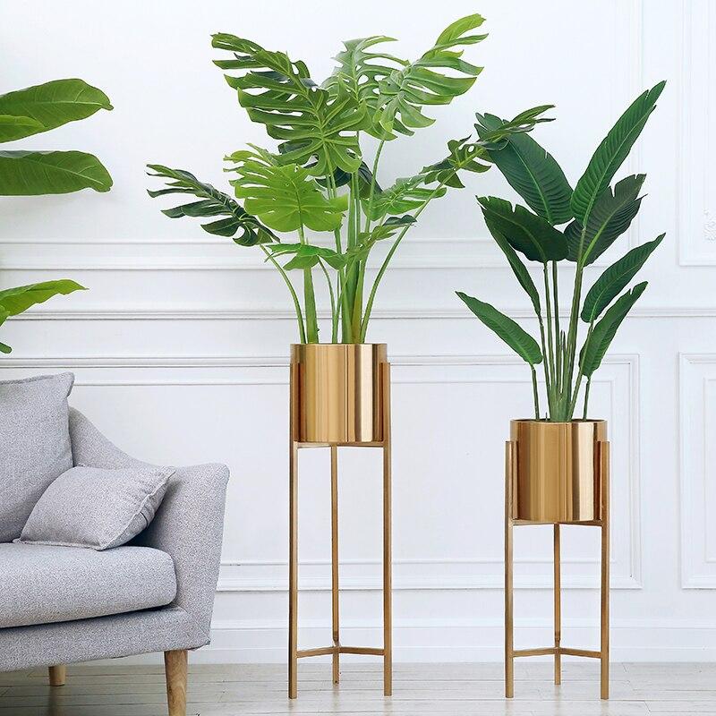 Free shipping Floor Vase Gold Metal Shelf Vase For Dried Flowers Lobby Home Deco Flower Vase Accessories Background Vase