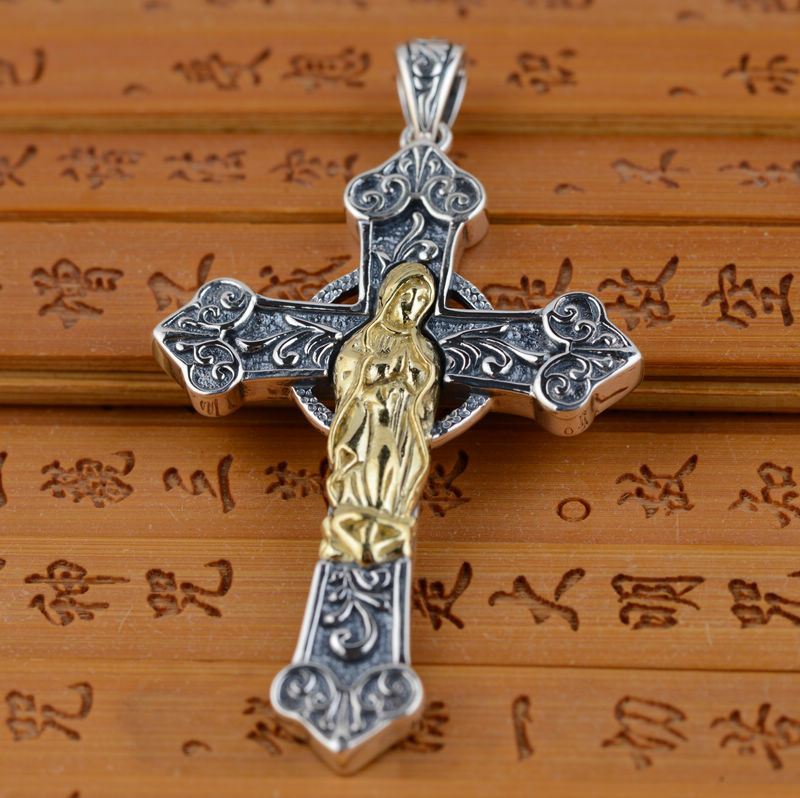 S925 Sterling Silver Pendant Jewelry Wholesale Silver Antique Style Cross Pendant double Mary Maria