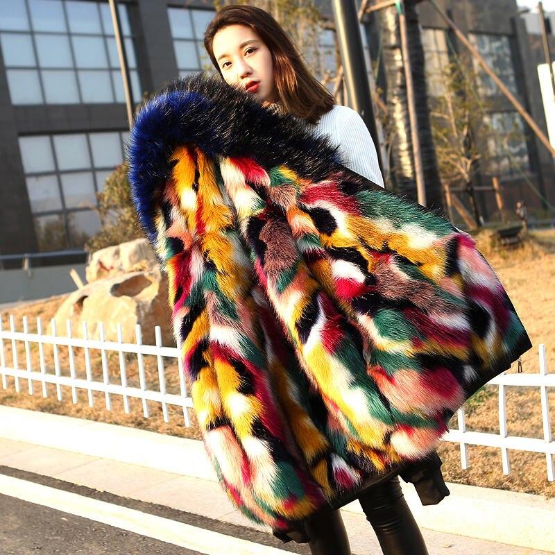 Courtes Haute Photo Grande Fausse Chaud À Femmes Mode De Nuw348 Capuchon Taille Des Et Hiver Fourrure Confortable Qualité Manteau Color 2019 H4BT6q