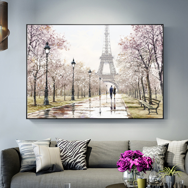 Us 3 97 40 Off Romantic Paris Tower Wall Art Canvas Paintings On The Wall Lover In Paris Street Landscape Art Prints For Living Room Cuadros In