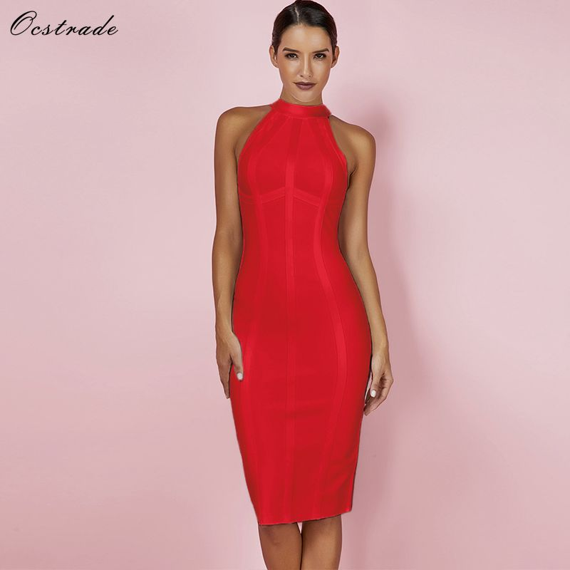 Ocstrade Red Christmas Bandage Dress Bodycon New Year Dresses for Women 2019 Sexy Striped High Quality Midi Party