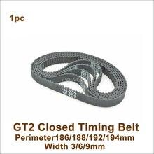 POWGE 186/188/190/192/194 GT2 зубчатый ремень W = 3/6/9/15 мм T = 93/94/95/96/97 2GT замкнутому циклу синхронный ремень 188-2GT 186-GT2 190-2GT