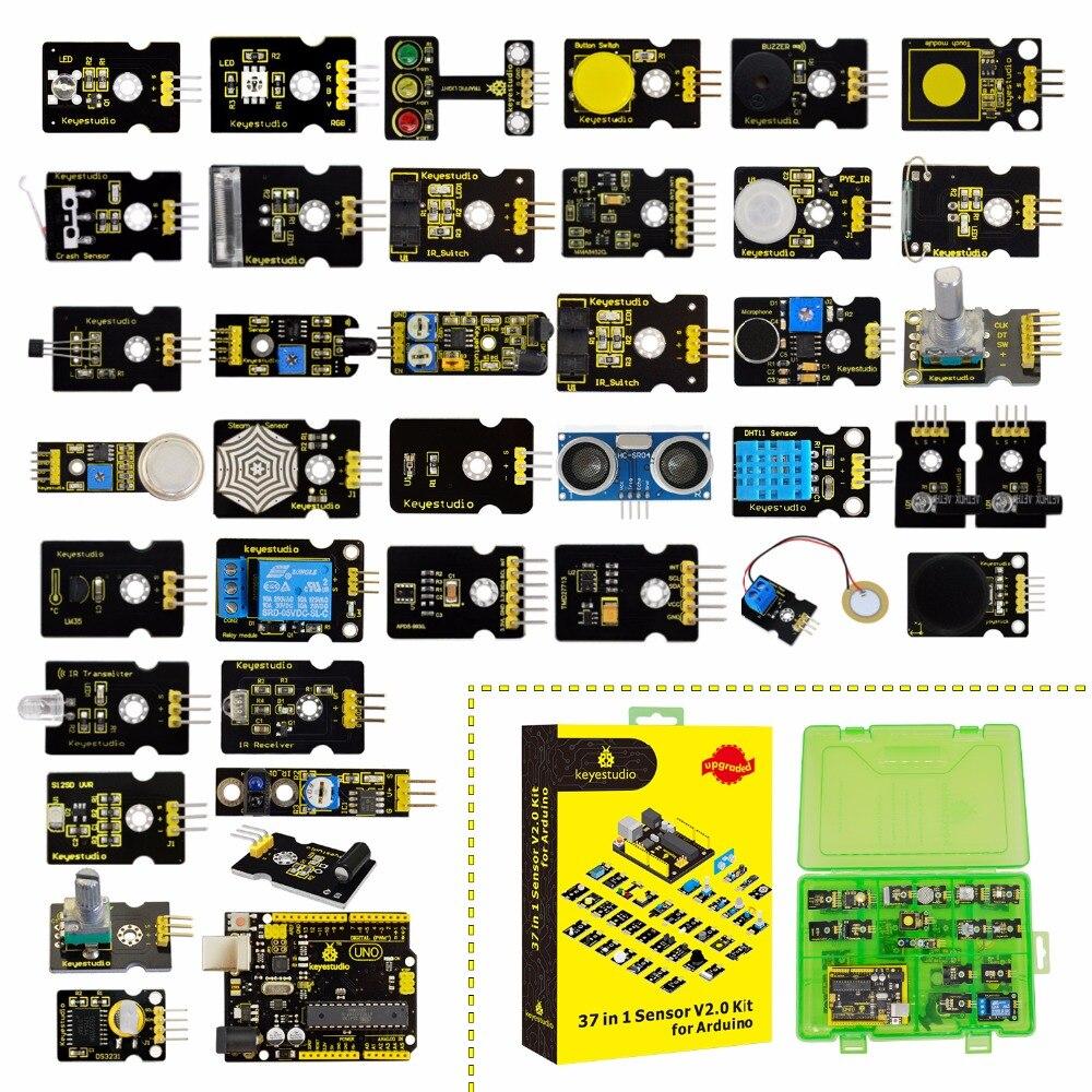 2019 NEW!Keyestudio New Sensor Starter V2.0 Kit 37 in 1 Box (UNOR3 Board) for Arduino Kit2019 NEW!Keyestudio New Sensor Starter V2.0 Kit 37 in 1 Box (UNOR3 Board) for Arduino Kit