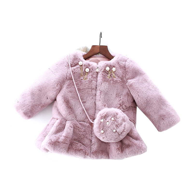 NEW 4-13T Winter Jacket Fall Warm Thick Coral Fleece Baby Girls Coat Long Sleeve Cute Pearl Solid Outwear Girl Clother with bag 2017 new baby boys and girls winter warm long coat kid hooded jacket kid fashion cute cartoon thick down solid color winter coat