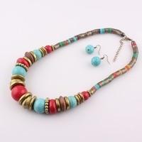 2017 HOT selling Snake Chain Jewelry Set Tibetan Alloy Pendant Necklace&Earrings Women Stone Necklace Choker Collar Femme