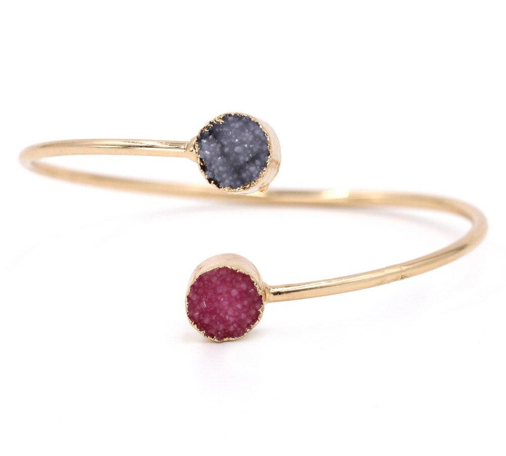 Fashion Vintage Geometric Round Resin Druzy Asymmetry Winter Colors Cuff Bracelet Bangles