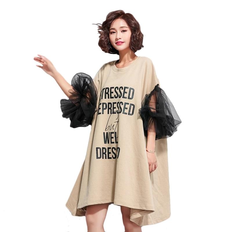 2019 high quality 100% Women's European Fashion Dresses Unique Black Mesh Sleeve Big Sizes Women Dresses Mini Dress Women ZHI01