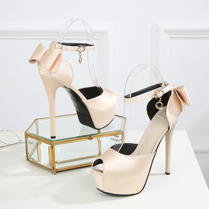 Summer Solid Sexy Pumps Women Sandals Shoes Wedding 3.8cm-4.5cm Platform Silk Buckle Strap Super High Heels Party Female Shoes 12