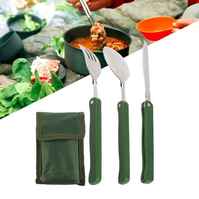 Portable Practical Folding C&ing Tool Outdoor Tableware Folding Fork Spoon Knife Picnic Dinnerware C&ing Set  sc 1 st  AliExpress.com & Portable Practical Folding Camping Tool Outdoor Tableware Folding ...