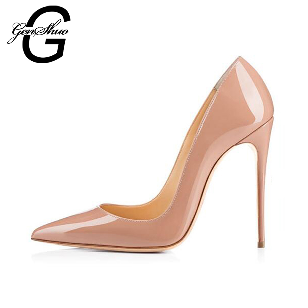 dec6af80676 GENSHUO 2019 Big Size 12 High Heels Women Pumps Thin Heel 8 10 12CM Classic  Nude