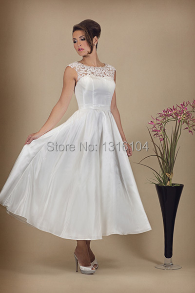 2016 Vintage Informal Ivory Simple Tea Length Sleeveless Lace Taffeta Women Wedding  Dresses Reception Second Wedding