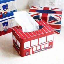 1 unidad, Vintage nueva decoración para el hogar, caja de extracción de papel para autobús Zakka, Inglaterra, Londres, lata NL 009