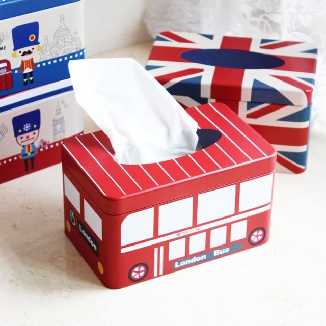 1PC New Vintage Home Decor Zakka England London Bus Tissue Box ...
