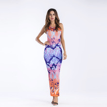 Women's Sexy Bodycon Sundress Colorful Printing Summer long Dress 2018 Sleeveless kick pleat Femme Clothes vestidos