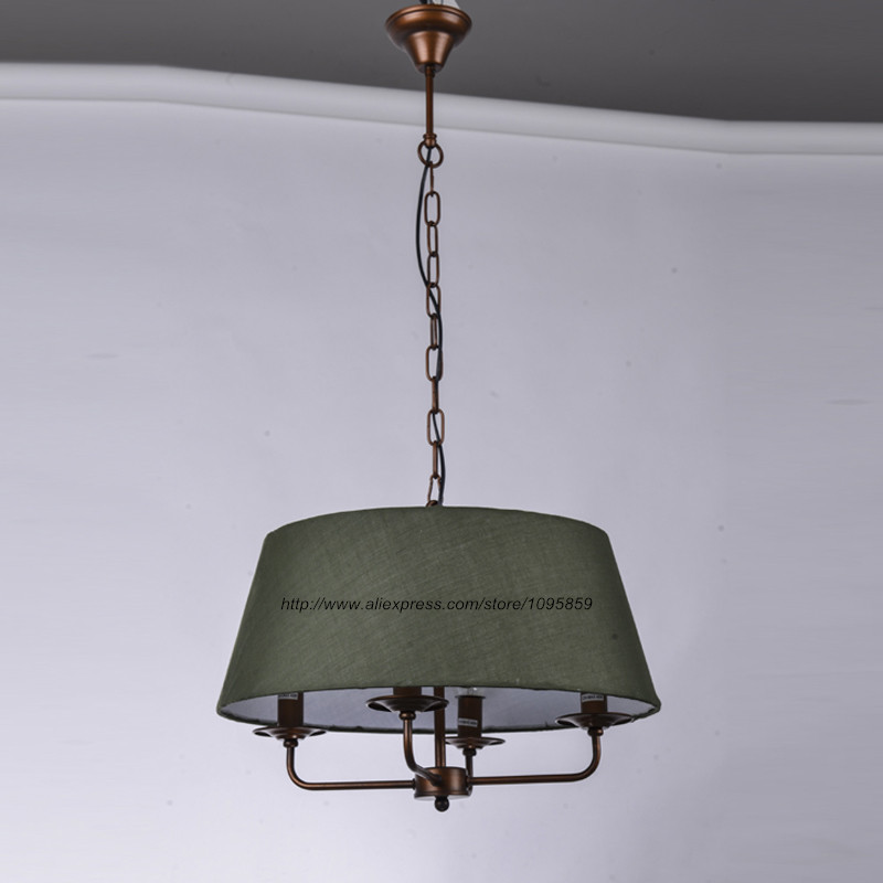 Modern rustic style 4 arms chandelier light lamp green fabric modern rustic style 4 arms chandelier light lamp green fabric shade dining room ceiling fixtures lighting in chandeliers from lights lighting on mozeypictures Gallery