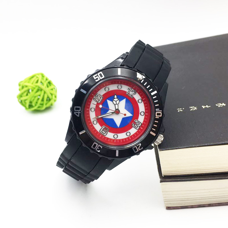 Captain America Cartoon Watches For Children Boy Quartz Wrist Watch Black PU Strap Mens Sports Clock Fashion Student Wristwatch