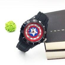 Capitão américa relógio de pulso, desenho animado relógios para crianças menino quartzo relógio de pulso preto pu pulseira esportes moda relógio de pulso estudante