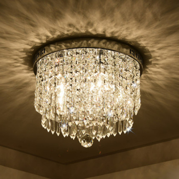 Modern minimalist transparent crystal ceiling lamp porch balcony decoration LED lighting warm white light 40cm round plate