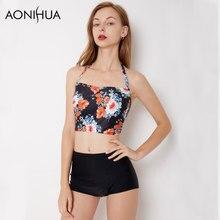 AONIHUA Sparklers in Night | 2018 Floral Print Halter Bikini sets Women Summer Beach Swimwear Vintage High waist Swimsuit 9039