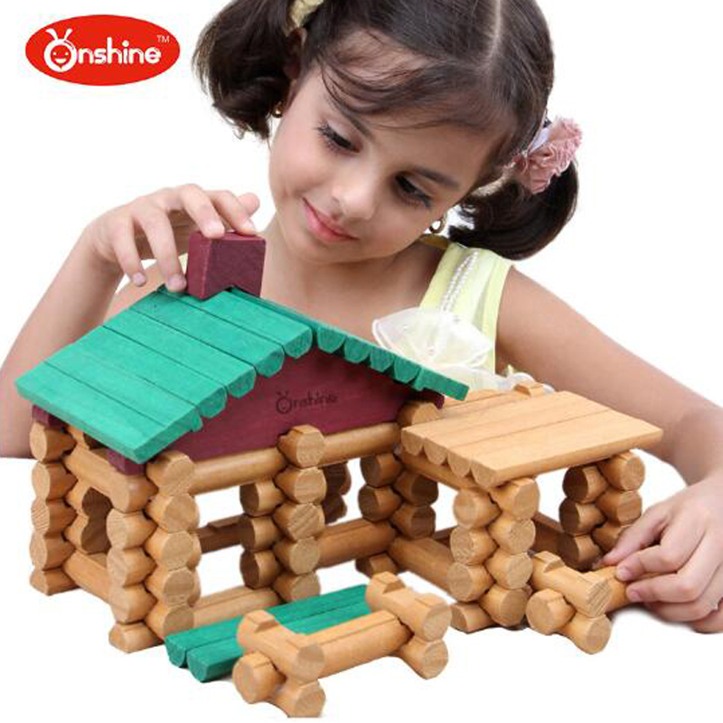 Onshine 90pcs/set Baby Toys Wooden Building Blocks Forest Log Set Toys Children Educational Construction Birthday Gifts Toys forest animals 100pcs blocks girls 1 6 years educational baby toys environmental protection wooden children creature boy toy