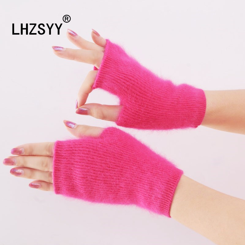 LHZSYY New Mink Cashmere Winter Short Keep Warm Thicken Fashion Gloves Solid Color There Finger Holes Women Gloves Soft Warm