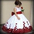 2016 quente de vendas vestidos vermelho/rosa/azul arco caixilhos apliques vestidos menina para casamentos FD84