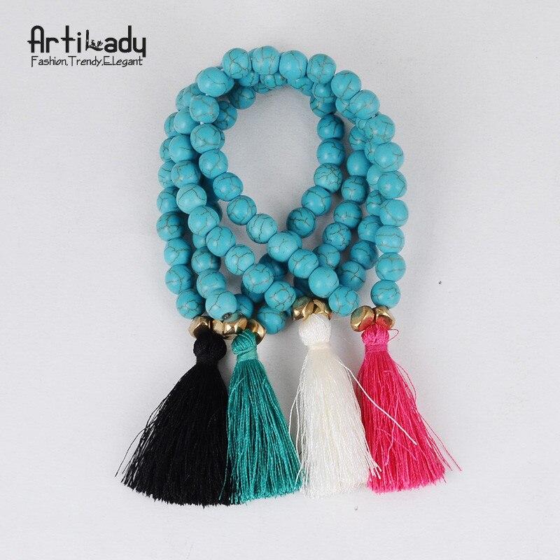 Artilady natural stone beads bracelet bangles handmade tassel bracelets for women wedding dropshipping