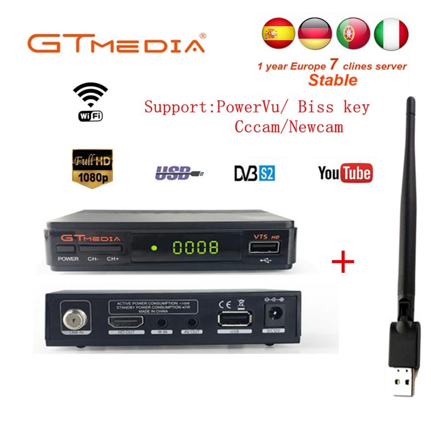 GTMedia V7S 1 An Europe 7 Clines Serveur GTMedia Récepteur Satellite Numérique DVB-S2