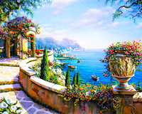 Seascape Canvas Painting By Numbers Frameless Wall Pictures DIY Canvas Oil Painting Home Decor For Living