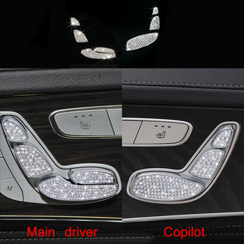 7PCS Diamond Style Seat Adjust Buttons Cover For Benz C Class W205 2015-2017 & GLC Class X205 2016-2017